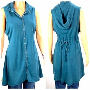 Soft Surroundings Sleeveless Teal Hoodie Size MED